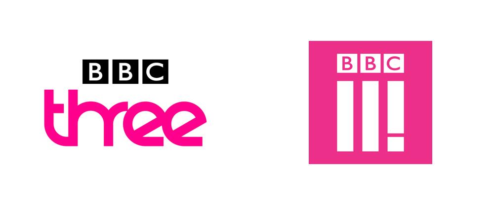 Det nye BBC Three logo er det til højre.