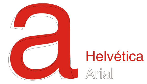 Her sammenlignes Helvetica med Arial, som ligner så meget, at mange har svært ved at se forskel med det blotte øje.