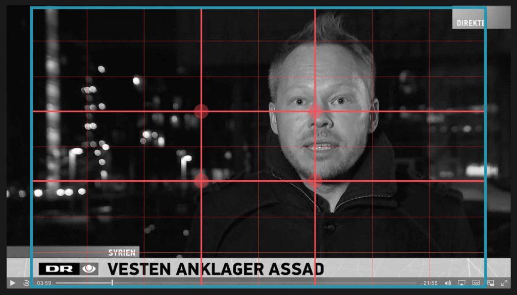 I nyhedsprogrammer vil ham som taler til kameraet næsten altid være placeret i Det gyldne snit. Det skaber en god balance i billedet.